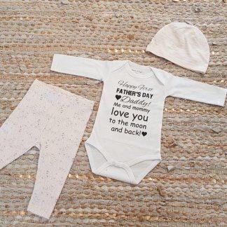 Set met baby romper tekst voor meisje cadeau papa eerste roze fijne vaderdag beer 74