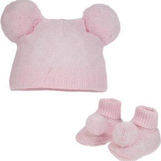 Soft Touch Babymuts En Sokjes Pompom Meisjes Polyester Roze