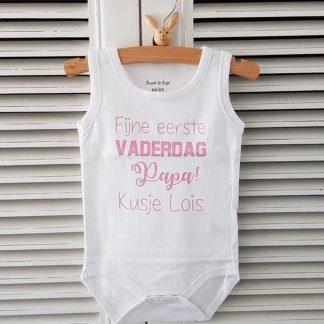 romper fijne eerste vaderdag met naam roze meisje baby mouwloos wit met roze 62-68 cadeau bekendmaking zwangerschap aanstaande baby