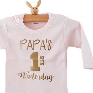 romper papa papa's eerste vaderdag roze lange mouw maat 50-56 bekendmaking zwangerschap aanstaande baby meisje