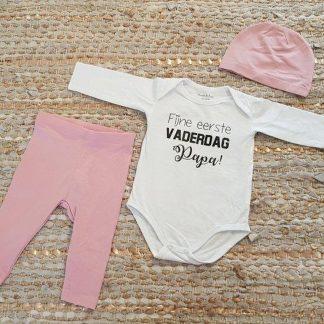 romper set meisje baby met tekst roze fijne vaderdag eerste papa 74-80