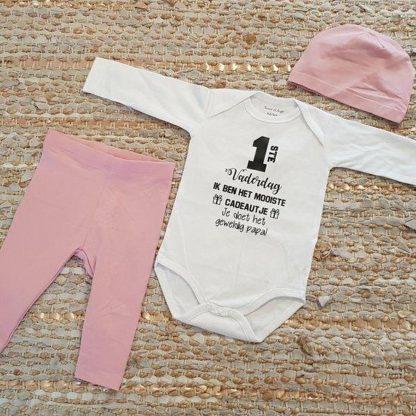 romper set papa meisje baby met tekst roze eerste vaderdag ik ben het mooiste cadeautje je doet het geweldig papa 62-68