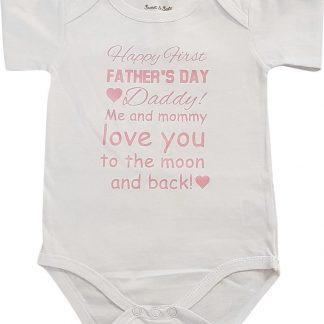 romper vaderdag tekst papa happy first fathers day korte mouw wit met roze meisje maat 50-56