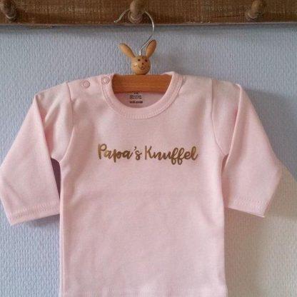 rompertje baby roze meisje papa | papa's knuffel lange mouw roze goud maat 74-80