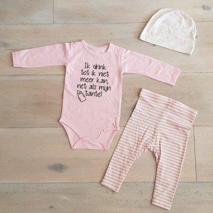 Baby Meisjes Setje 3-delig newborn   maat 62-68   roze mutsje beertje roze broekje streep en roze romper lange mouw met tekst zwart ik drink tot ik niet meer kan net als mijn tante