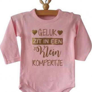 Baby Romper meisje roze met tekst   geluk zit in een klein rompertje   lange mouw   roze   maat 50/56