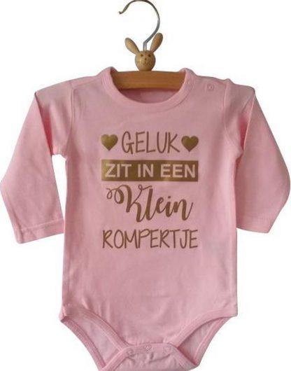 Baby Romper meisje roze met tekst   geluk zit in een klein rompertje   lange mouw   roze   maat 74/80 cadeau