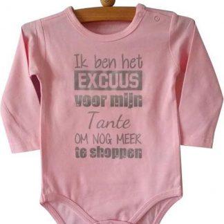 Baby Romper roze meisje met tekst | Ik ben het excuus voor mijn tante om nog meer te shoppen | lange mouw | roze | maat 50/56