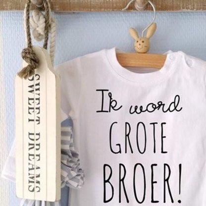 Baby Romper tekst opdruk boodschap Ik word grote broer   korte mouw   zwart wit   maat 86/92 cadeau jongen