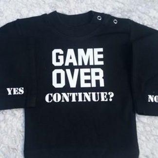 Baby Romper zwart met tekst bedrukking Game over continue | lange mouw | zwart wit | maat 62/68 cadeau geboorte jongen kraamcadeau papa vaderdag verjaardag zwangerschap aankondiging