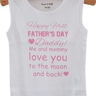 Baby Rompertje eerste Vaderdag cadeau meisje Happy first father's Day | mouwloos | wit roze| maat 50/56