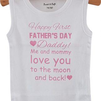 Baby Rompertje eerste Vaderdag cadeau meisje Happy first father's Day | mouwloos | wit roze | maat 62/68