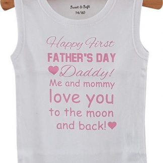 Baby Rompertje eerste Vaderdag cadeau meisje Happy first father's Day   mouwloos   wit roze   maat 74/80