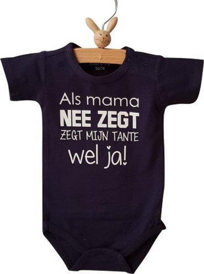 Baby Rompertje jongen Als mama nee zegt zegt mijn tante wel ja |korte mouw | donkerblauw met witte print | maat 62/68