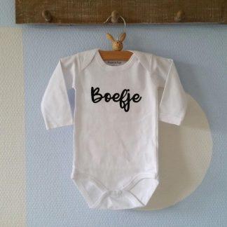 Baby Rompertje jongen Boefje | Lange mouw | wit | maat 50/56