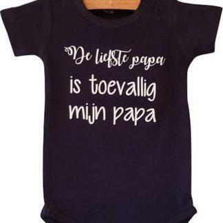 Baby Rompertje jongen De liefste papa is toevallig mijn papa | Lange mouw | blauw| maat 50/56