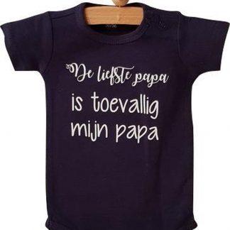 Baby Rompertje jongen De liefste papa is toevallig mijn papa | Lange mouw | blauw| maat 62/68 bekendmaking zwangerschap aanstaande baby jongen