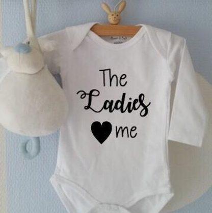 Baby Rompertje jongen The Ladies love me   Lange mouw   wit   maat 50-56 cadeau