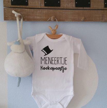 Baby Rompertje jongen met tekst | Meneertje Koekepeertje | Lange mouw | wit zwart | maat 50/56 | geboorte baby Cadeau Kraamcadeau