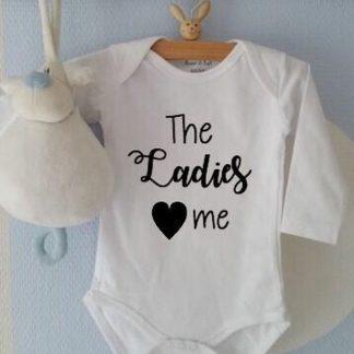Baby Rompertje jongen met tekst   The Ladies love me   Lange mouw   zwart wit   maat 62/68   geboorte baby Cadeau Kraamcadeau
