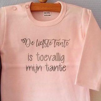 Baby Rompertje licht rose meisje met tekst | De liefste Tante is toevallig mijn Tante | lange mouw | roze met zilver | maat 50/56 cadeau geboorte kraamcadeau zwangerschap aankondiging