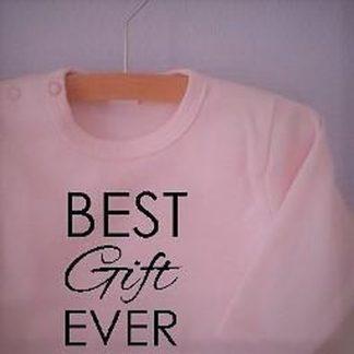 Baby Rompertje lichtroze meisjes met tekst   Best Gift Ever   lange mouw   roze met zwart   maat 62/68