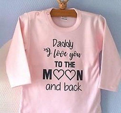 Baby Rompertje lichtroze meisjes met tekst | Daddy I love you to the moon and back | lange mouw | roze met donker grijs | maat 62/68