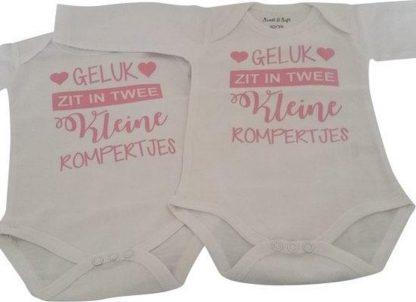 Baby Rompertje meisje geluk zit in twee kleine rompertjes tweeling set   Lange mouw   roze   maat 50-56