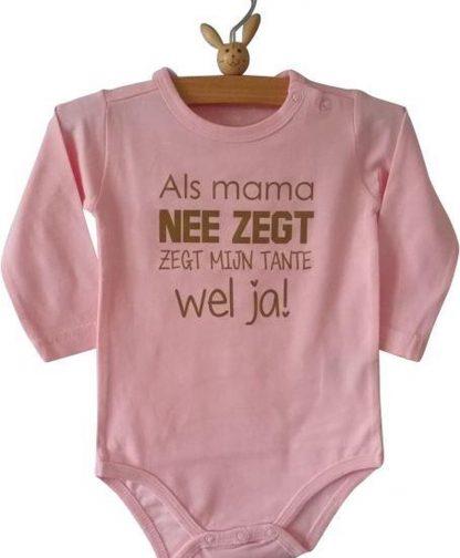 Baby Rompertje meisje roze met grappige leuke tekst | Als mama nee zegt zegt mijn tante wel ja| lange mouw | roze | maat 62/68