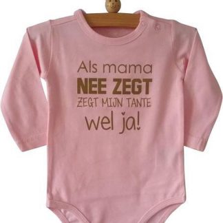 Baby Rompertje meisje roze met grappige leuke tekst | Als mama nee zegt zegt mijn tante wel ja | lange mouw | roze | maat 74/80 cadeau