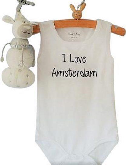 Baby Rompertje met tekst voetbal voetbalclub Jongen meisje | I love Amsterdam | wit | maat 50/56 | mouwloos zonder mouw