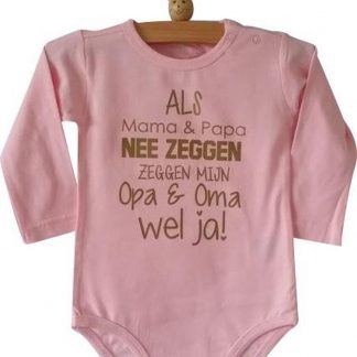 Baby Rompertje roze meisje met tekst   Als mama en papa nee zeggen zeggen mijn opa en oma wel ja   lange mouw   roze   maat 50/56