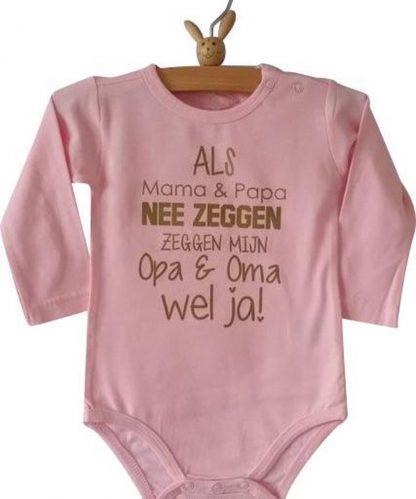Baby Rompertje roze meisje met tekst | Als mama en papa nee zeggen zeggen mijn opa en oma wel ja | lange mouw | roze | maat 62/68