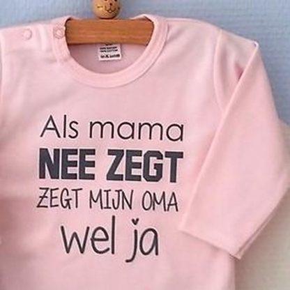 Baby Rompertje roze meisje met tekst | Als mama nee zegt zegt mijn oma wel ja | lange mouw | roze met donker grijs | maat 50/56