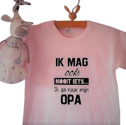 Baby Rompertje roze meisje met tekst | Ik mag ook nooit iets ik ga naar mijn opa | korte mouw | roze met zwart | maat 62/68