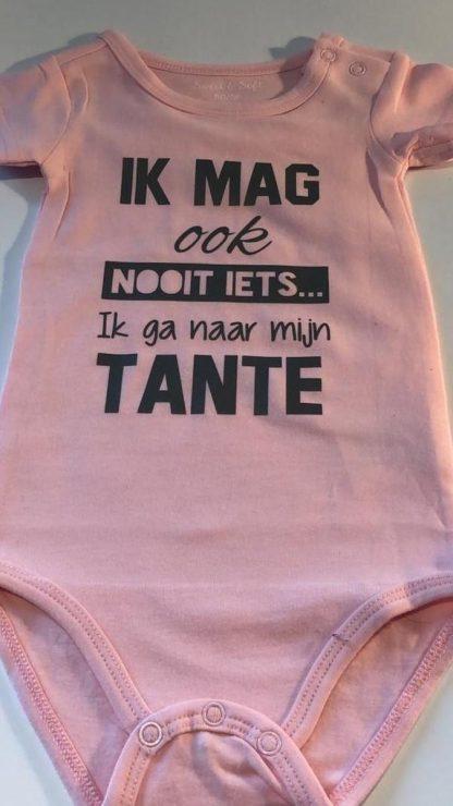 Baby Rompertje roze meisje met tekst   Ik mag ook nooit iets ik ga naar mijn tante   korte mouw   roze met grijs   maat 62/68