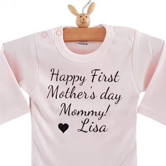 Baby Rompertje tekst mama eerste moederdag cadeau meisje| Happy first mother's Day mommy met naam | lange mouw | roze| maat 74-80