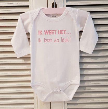 Baby Rompertje tweeling meisje Ik weet het, ik ben zo leuk! | Lange mouw | wit licht roze print | maat 74/80 cadeau rose