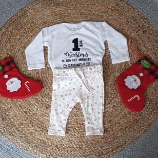 Baby cadeau Kerstpakje - Kerst Romper - Kerstoutfit tekst mijn eerste kerstmis pakje jongen meisje
