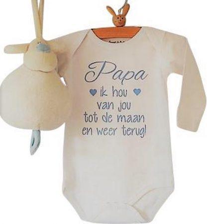 Baby jongen Rompertje met tekst I love | Papa ik hou van jou tot de maan en weer terug | Lange mouw | wit met blauw | maat 62/68