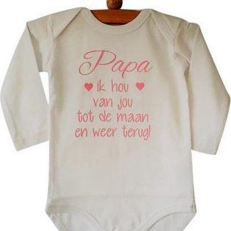 Baby liefste Rompertje meisje met tekst Papa ik hou van jou tot de maan en weer terug | Lange | Lange mouw | wit met roze | maat 50/56