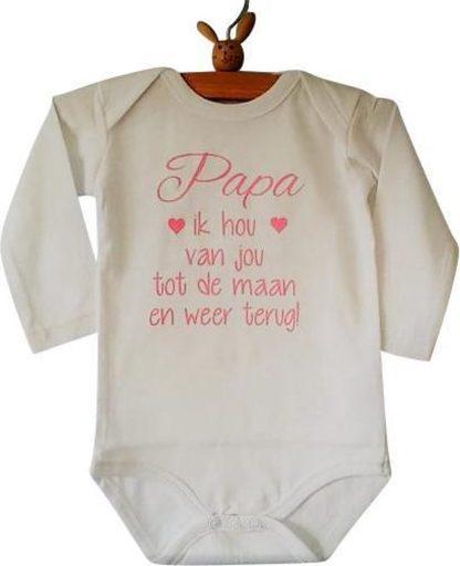 Baby liefste Rompertje meisje met tekst Papa ik hou van jou tot de maan en weer terug   Lange   Lange mouw   wit met roze   maat 50/56