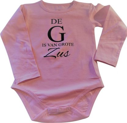 Baby liefste rompertje De G is van grote Zus meisje - Zwangerschapsaankondiging | Lange mouw | roze | maat 86-92 zwangerschap aankondiging