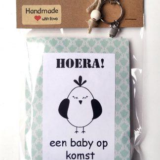 Baby luierkadobaby kraamcadeau met de tekst 'hoera een baby' , geboorte jongen of meisje, luierkado, babyshower, zwangerschap, bedeltje romper.
