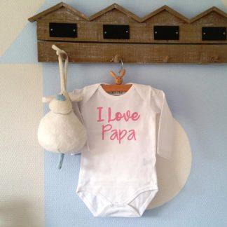 Baby meisje Rompertje I love Papa | wit met roze | maat 62/68