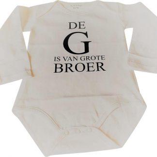 Baby rompertje De G is van grote broer jongen - Zwangerschapsaankondiging | Lange mouw | wit | maat 74-80 zwangerschap aankondiging