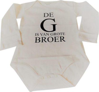 Baby rompertje De G is van grote broer jongen - Zwangerschapsaankondiging   Lange mouw   wit   maat 74-80 zwangerschap aankondiging