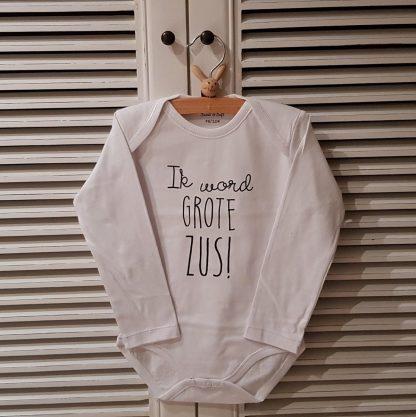 Baby rompertje Hoera ik word grote zus meisje - Zwangerschapsaankondiging   Lange mouw   wit zwart   maat 74-80 zwangerschap aankondiging