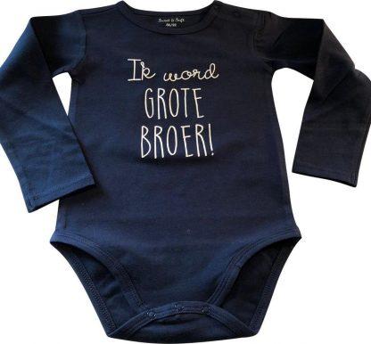 Baby rompertje Ik word grote broer jongen - Zwangerschapsaankondiging | Lange mouw | blauw | maat 86-92 zwangerschap aankondiging in wording bekendmaking zwangerschap aanstaande
