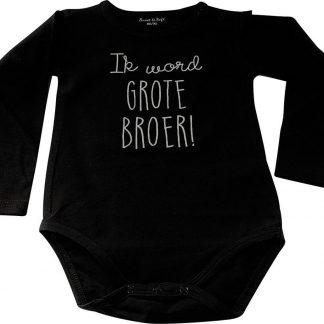 Baby rompertje Ik word grote broer jongen - Zwangerschapsaankondiging | Lange mouw | zwart | maat 86-92 zwangerschap aankondiging in wording
